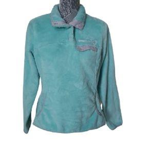 Free Country aqua fleece long sleeve gray accent